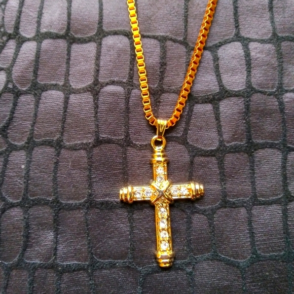 Double Cross iced out Crucifix